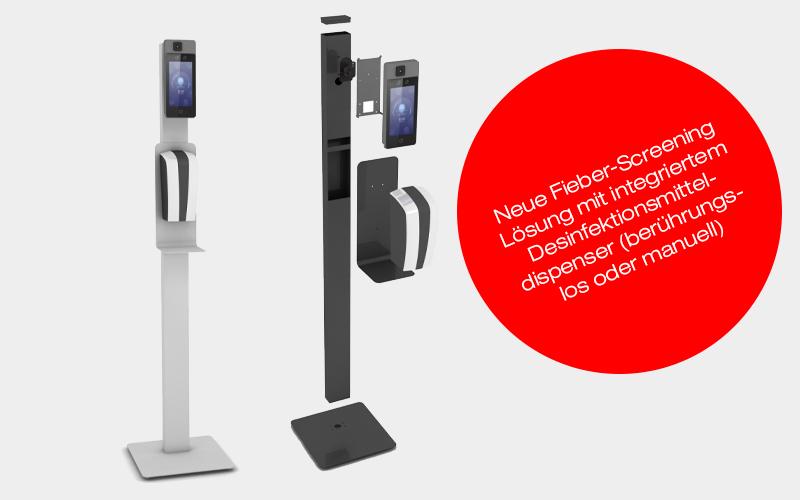 Neue Fieber-Screening Lösung mit integriertem Desinfektionsmitteldispenser